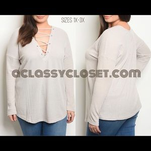 1X-2X-3X: Curvy Dove Lace-Up Front Sweater